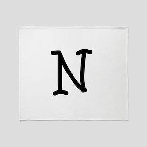 Bookworm Monogram N Throw Blanket