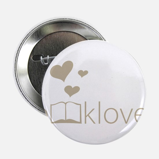 """Book Lover - floating hearts - tan 2.25"""" Button"""