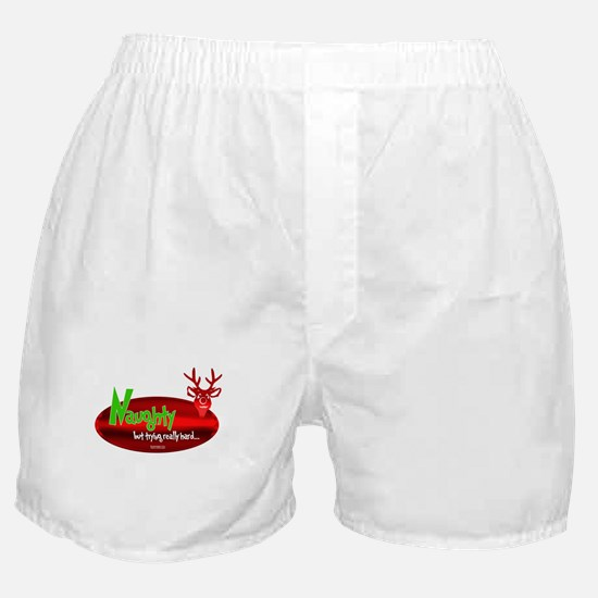 "Naughty,""But Trying Really Gard"" Boxer Shorts"