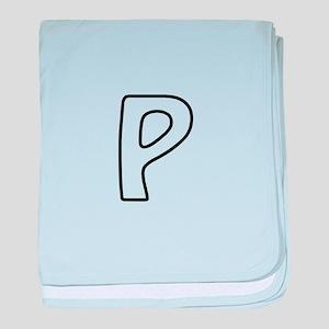 Outline Monogram P baby blanket