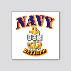 "NAVY - CPO - Retired Square Sticker 3"" x 3"""