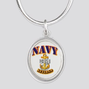 NAVY - CPO - Retired Silver Oval Necklace