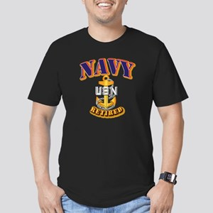 NAVY - CPO - Retired Men's Fitted T-Shirt (dark)