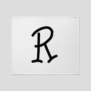 Bookworm Monogram R Throw Blanket