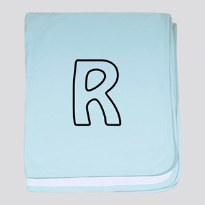 Outline Monogram R baby blanket