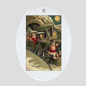 Santa's Victorian Christmas Train Oval Ornament