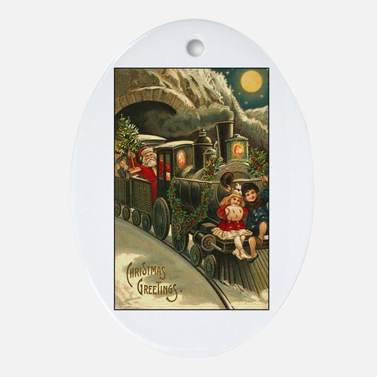 Santa's Victorian Christmas Train Oval Ornament