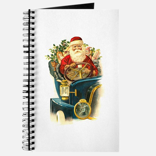 Vintage Santa Claus in a Classic Car Journal