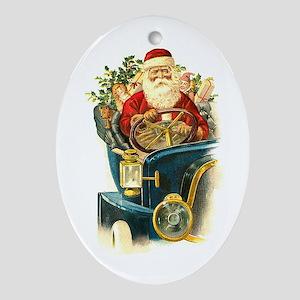 Vintage Santa Claus in a Classic Car Ornament (Ova
