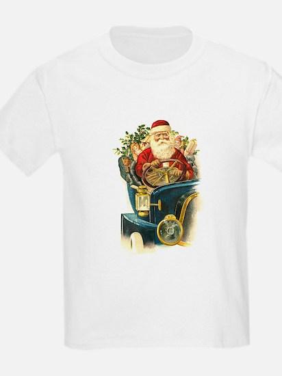 Vintage Santa Claus in a Classic Car T-Shirt