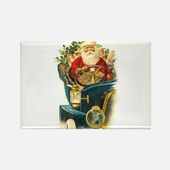 Vintage Santa Claus in a Classic Car Rectangle Mag