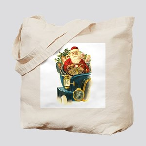 Vintage Santa Claus in a Classic Car Tote Bag