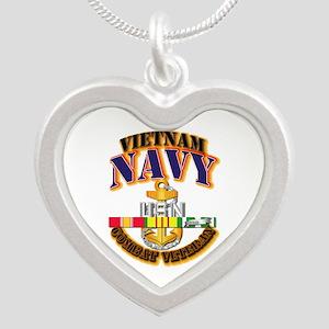 NAVY - CPO w VN SVC Silver Heart Necklace