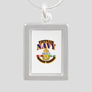 NAVY - CPO w VN SVC Silver Portrait Necklace