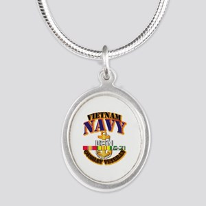 NAVY - CPO w VN SVC Silver Oval Necklace