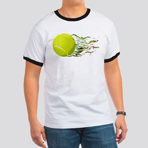 Tennis Ball Flames Artistic US Open Wimbleton T-Sh