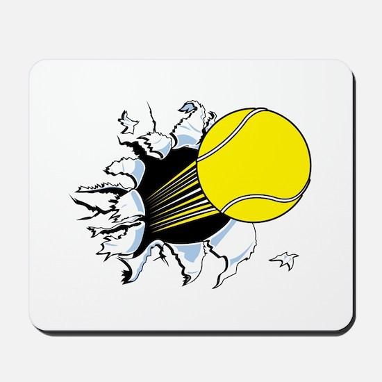 Tennis Ball Ripping Through Mousepad