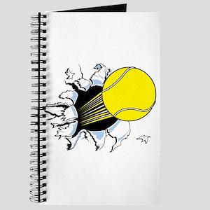 Tennis Ball Ripping Through Journal