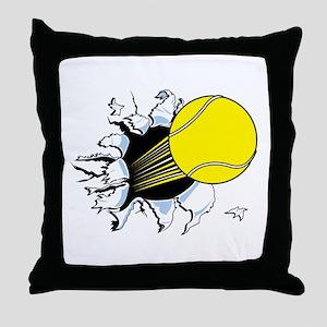 Tennis Ball Ripping Through Throw Pillow