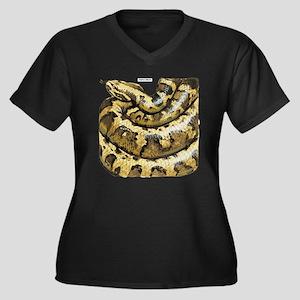 Anaconda Snake Women's Plus Size V-Neck Dark T-Shi