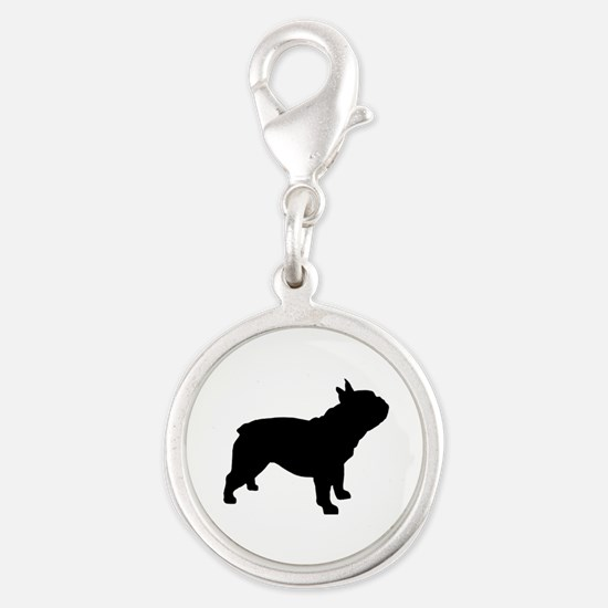French Bulldog Silver Round Charm