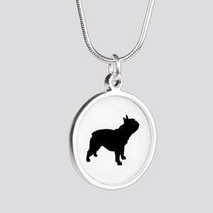 French Bulldog Silver Round Necklace