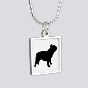 French Bulldog Silver Square Necklace