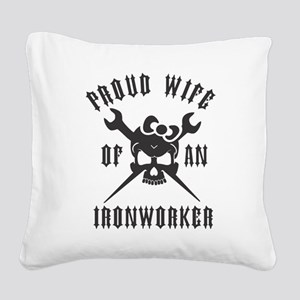 IRONWORKER WIFE LOGO BLACK Square Canvas Pillow