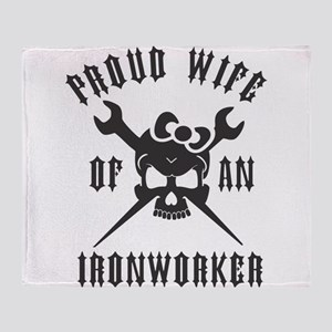 IRONWORKER WIFE LOGO BLACK Throw Blanket