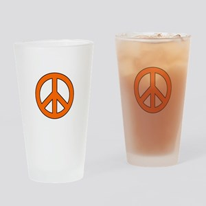 Orange Peace Sign Drinking Glass