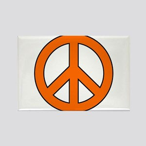 Orange Peace Sign Rectangle Magnet