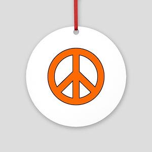 Orange Peace Sign Ornament (Round)