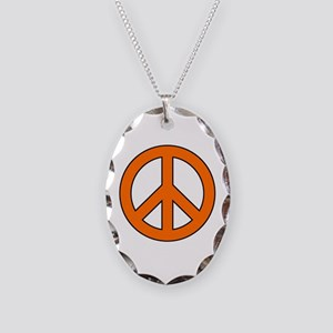 Orange Peace Sign Necklace