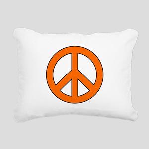 Orange Peace Sign Rectangular Canvas Pillow