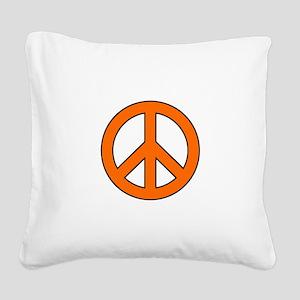 Orange Peace Sign Square Canvas Pillow