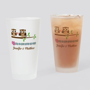 60th Anniversary Personalized Owl Gift Drinking Gl