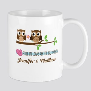 60th Anniversary Personalized Owl Gift Mugs