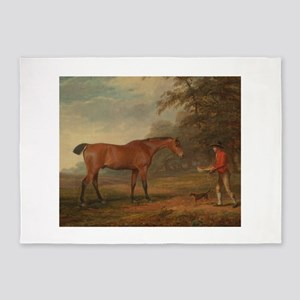 Vintage Painting of a Bay Horse 5'x7'Area Rug