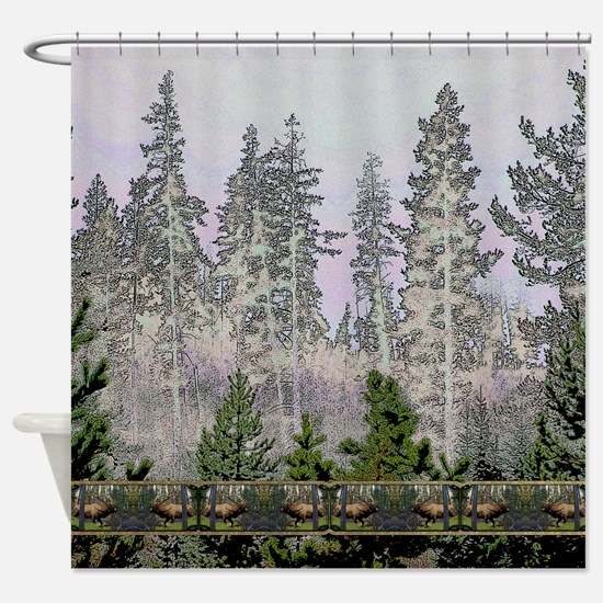 Sunrise forest bull elk Shower Curtain