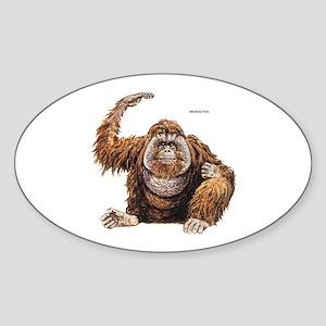 Orangutan Ape Sticker (Oval)