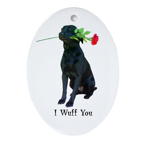 wuff you Oval Ornament