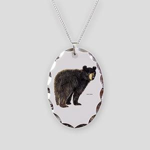 Black Bear Necklace Oval Charm
