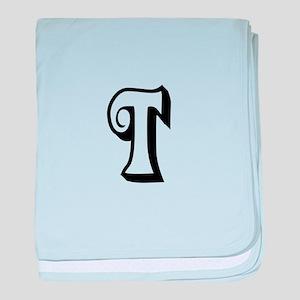 Action Monogram T baby blanket