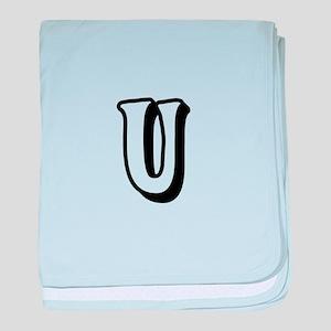 Action Monogram U baby blanket