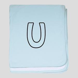 Outline Monogram U baby blanket