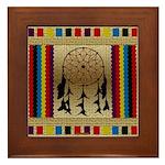 Indian Dreamcatcher Beadwork Framed Tile