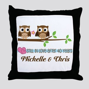 40th Anniversary 40 Year Owls Personalized Throw P