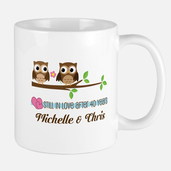 40th Anniversary 40 Year Owls Personalized Mugs