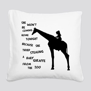 Giraffenapping Square Canvas Pillow