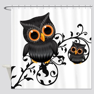 Cute Black And Orange Owls Shower Curtain